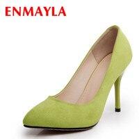 ENMAYLA Women Flock Pointed Toe Pumps Black Red Blue Green Shoes Women Fashion Wedding Shoes Pumps