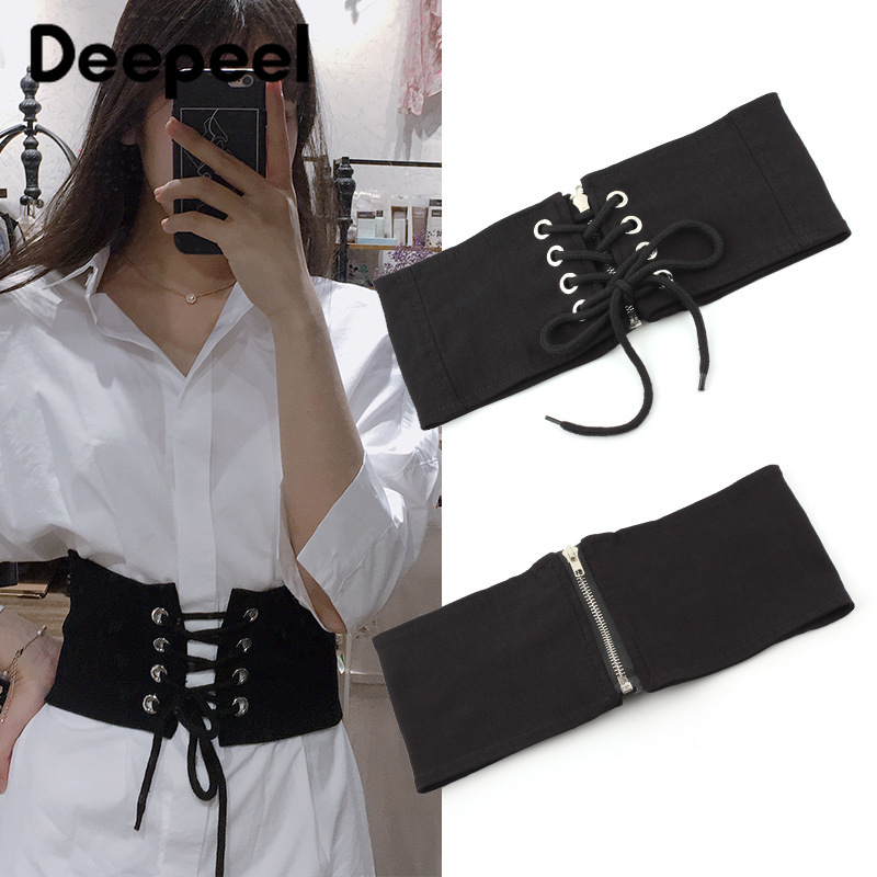 Deepeel 1pc 62X12.5cm/68X12.5cm Fashion Wild Elastic Cummerbunds Women's Wide Belt Shirt Dress Decoration Elastic Belt CB021