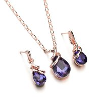 2018 Fashion Water Drop Crystal Jewelry Set For Women Geometric Pendant Necklace Lady Dangle Earrings Fashion Engagement Gifts(China)