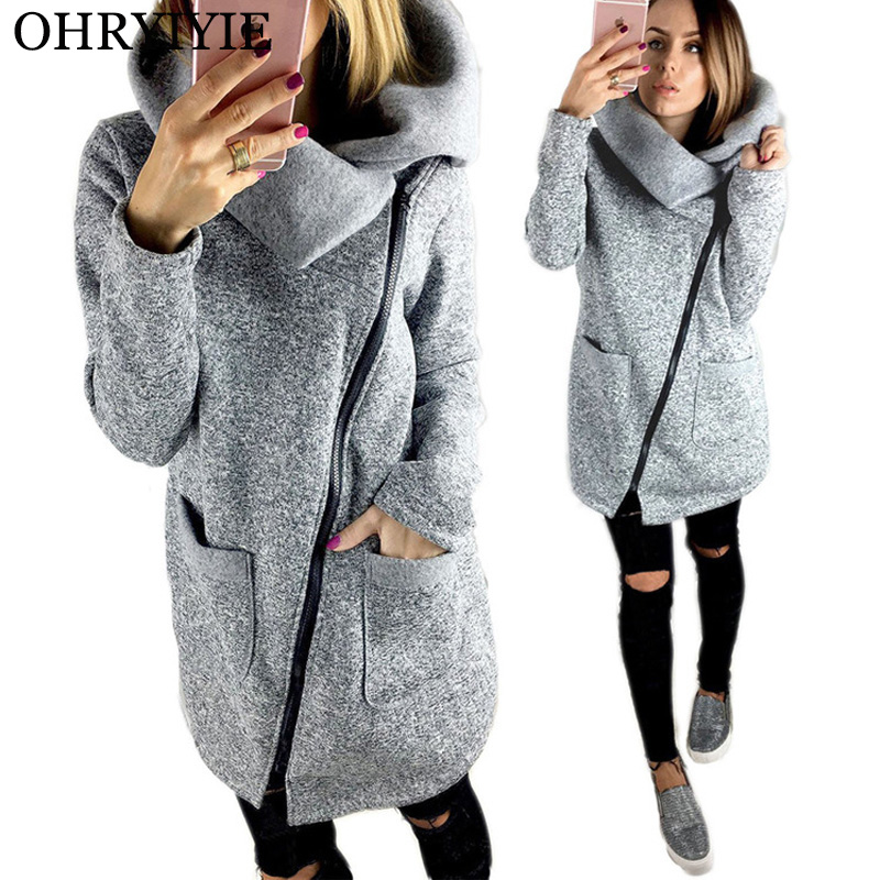 OHRYIYIE Plus Size 5XL Thick   Jackets   Women 2019 Autumn Winter Zipper Outerwear Loose   Basic     Jackets   Lady Coat Big Size S-5XL WC68