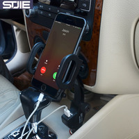STJIE 360 Adjustable Car Mobile Holder Charger Dual Usb Port Universal Cell Phone Holder Charger For