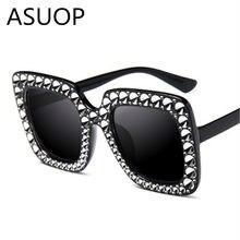 658687e7c22 ASUOP2018 international brand fashion cat eye sunglasses ladies crystal  diamond square big box retro glasses all star UV400