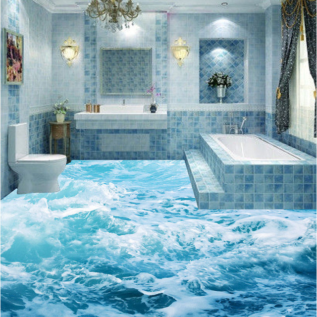 3D Bathroom Bathroom Kitchen Floor Tiles Non Slip Tiles Antique Balcony  Tiles Ocean Waves 3D Floor