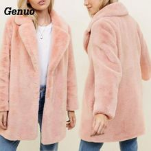Genuo turn-down collar faux fur jacket coat women winter thicken plush loose casual overcoat outerwear pink