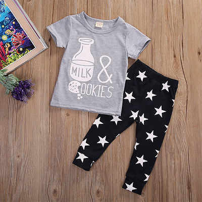2pcs Baby Set Newborn Kids Baby Girls Boys Clothes Short Sleeve Feeding bottle T-ShirtLong Star Pants Toddler Baby Clothes