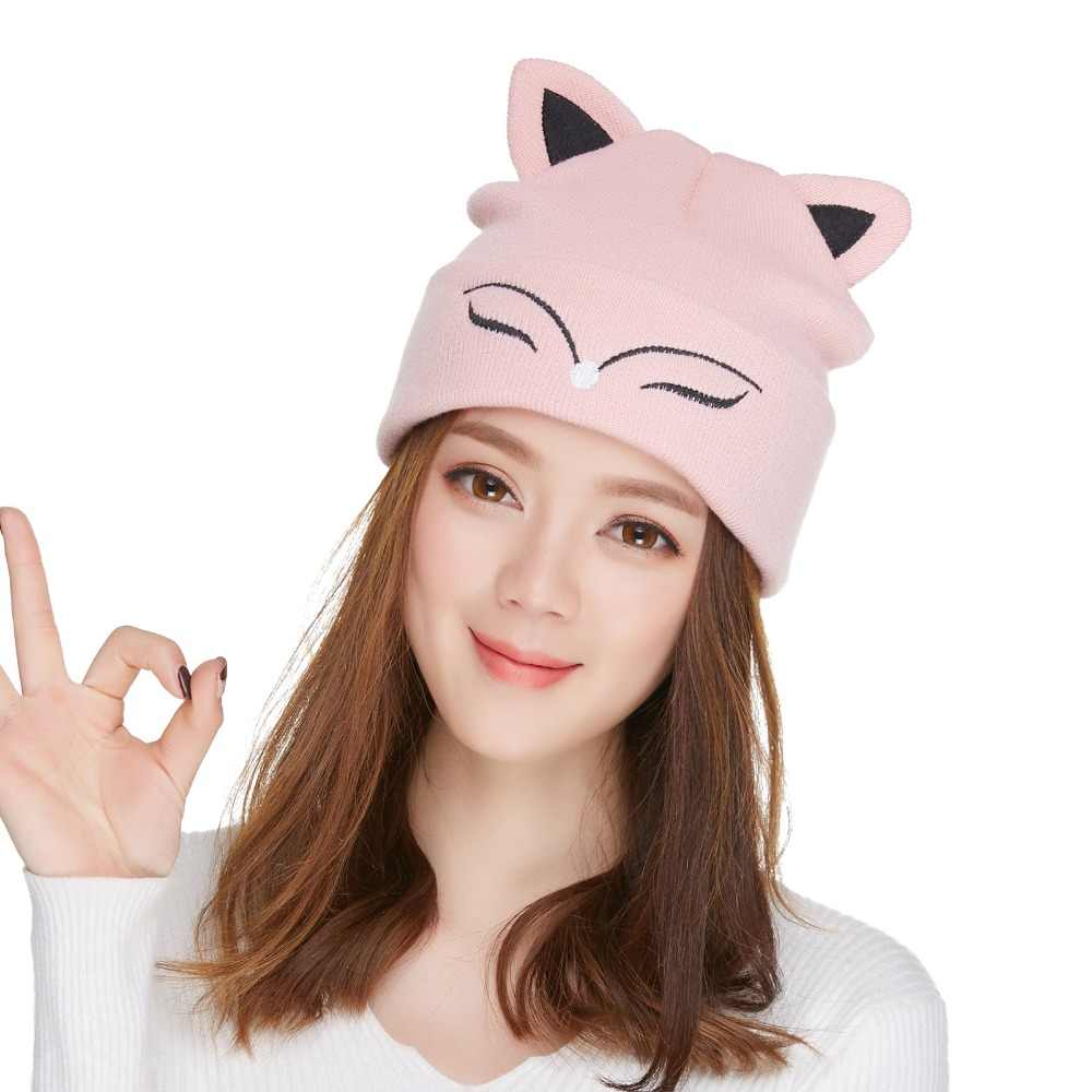 2fd2de42bf872 ... Kajeer Women s Hat Knitted Wool Winter Warm Beanie Pink Cute Fox Ears  Skulls Knit Hat Caps ...