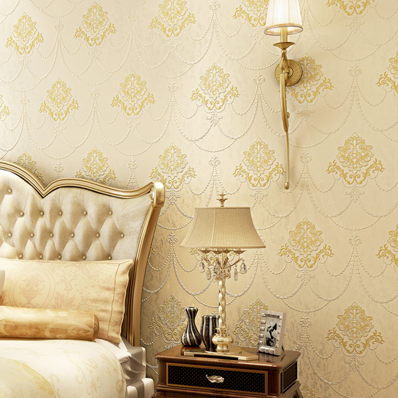 European Style Luxury Wallpaper 3D Embossed Silk Fiber Non-Woven Wallpaper Living Room Bedroom Background Wall Papers Home Decor italian romantic style living room background wallpaper brown flower pvc wallpaper 3d embossed wallpaper wall papers home decor