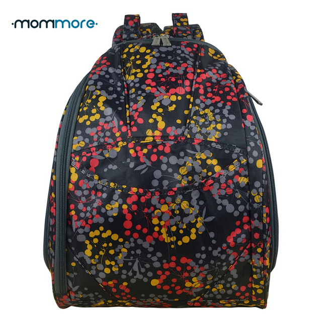mommore 2017 New Black Diaper Changing Bag Nappy Bag Fully-opened Mummy Backpack Water Repellent Polyester Baby Stroller Bag