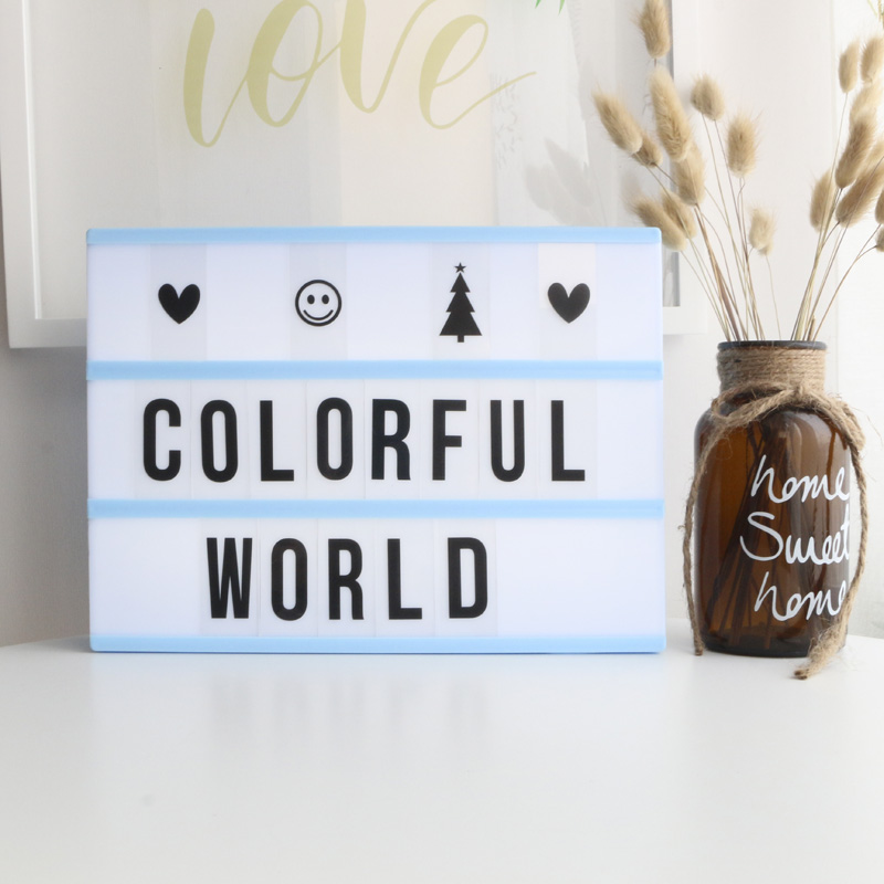 High Quality A4 LED Light Box With DIY Letters Cards 3AA BATTERY Or USB PORT Powered Cinema Light Box Desktop Lamp Home Lighting