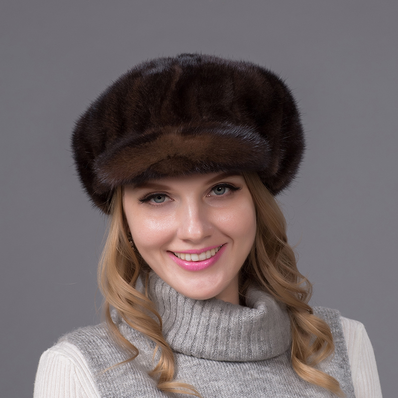2016 New Genuine Mink Fur Hat Cap in Women Clothing Winter Fur Headdress Warm Fashion Cap