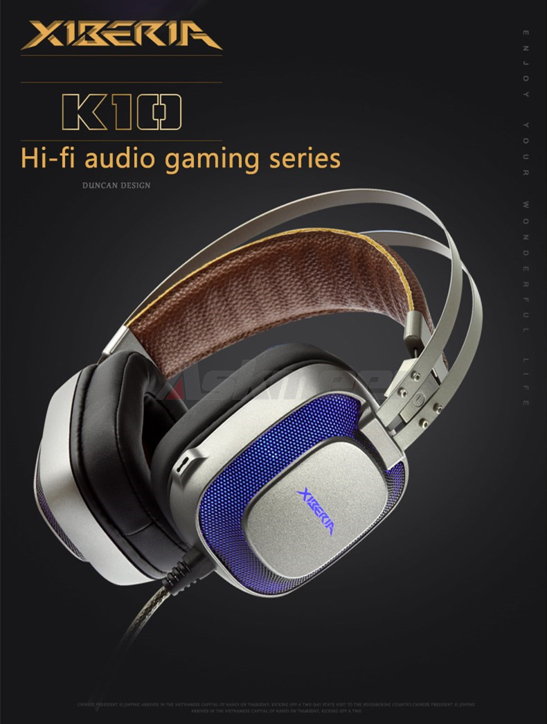 XIBERIA K10 Gaming Headphones casque USB Computer Stereo Heavy Bass Game Headset with Microphone LED Light for PC Gamer (8)