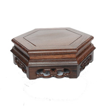 Redwood carved stone flowerpot vase of Buddha tank base handicraft furnishing articles wenge household act the role ofing redwood carved wooden furnishing articles wooden red acid branch stone crafts special circular base
