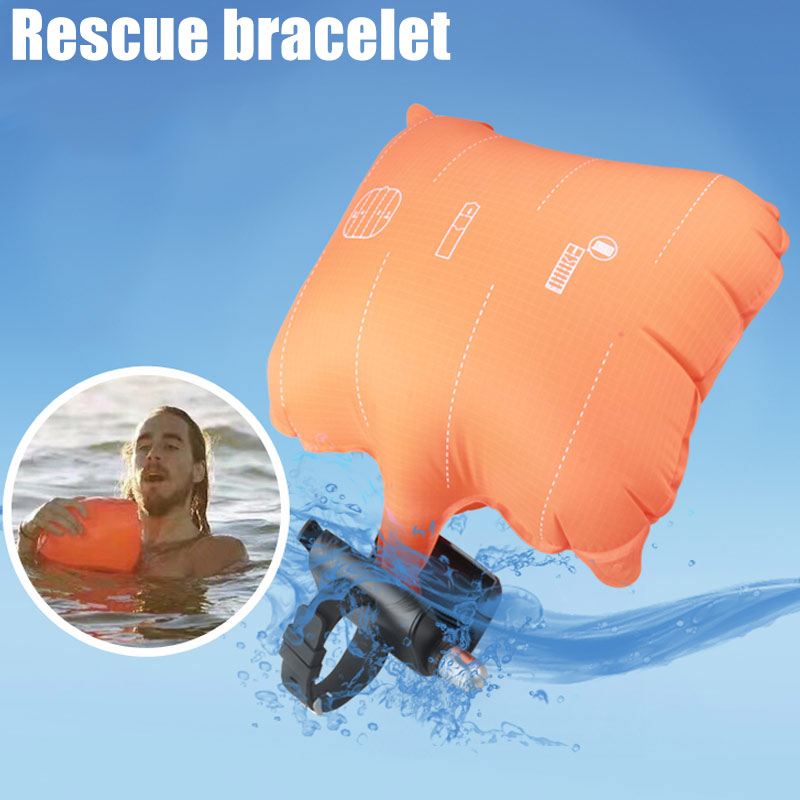 Anti-Dredging Rescue Bracelet With Inflatable Airbag Outdoor Self-help Survival Water Sports Swim Bracelet  With Life Strap