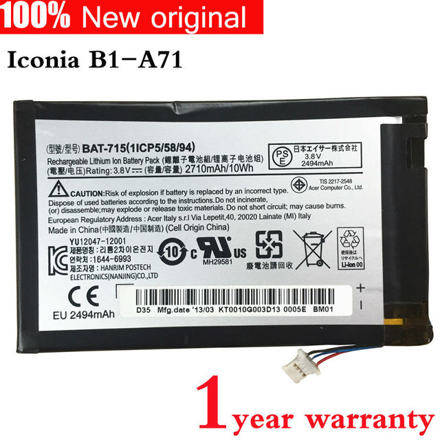 Оригинальный планшет Аккумулятор для ACER Iconia B1-A71 BAT-715 1ICP5/58/94 3.8 В 2710 МАЧ 10WH В1-a71-83174g00nk