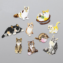 1pc cute cat embroidered Patches for Clothing iron on Embroidery Stickers for backpack Applique Decoration carton Badge cats 1pc landscape embroidered patches for clothing sew on tree embroidery parches for backpack clothing applique decoration badge