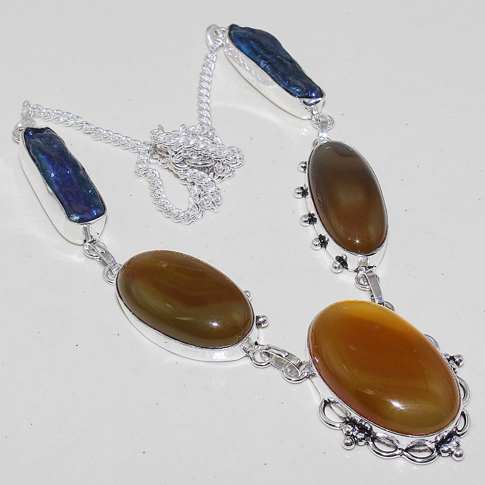 Aggate Biwa Pearls Necklace Silver Overlay over Copper 52 cm N0618 in Pendant Necklaces from Jewelry Accessories