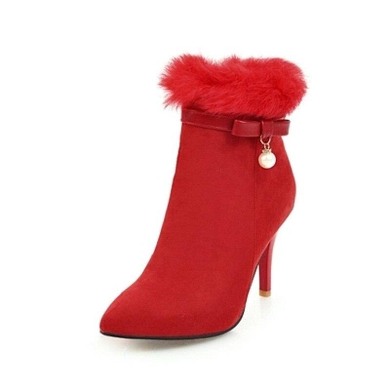 Bottes Sexy Aiguilles Mariage Rouge Femmes Mariée Courtes Chaussures Noir De Talons Pointues gris Chinois Nouvelle 2019 rouge Hiver qwIfAA