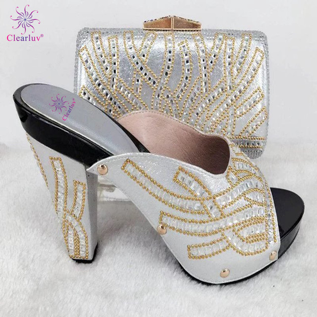 SILVER Fashion Italian Shoes With Matching Clutch Bag Hot African Big  Wedding With High Heel Shoes and Bag Set c0872b977741