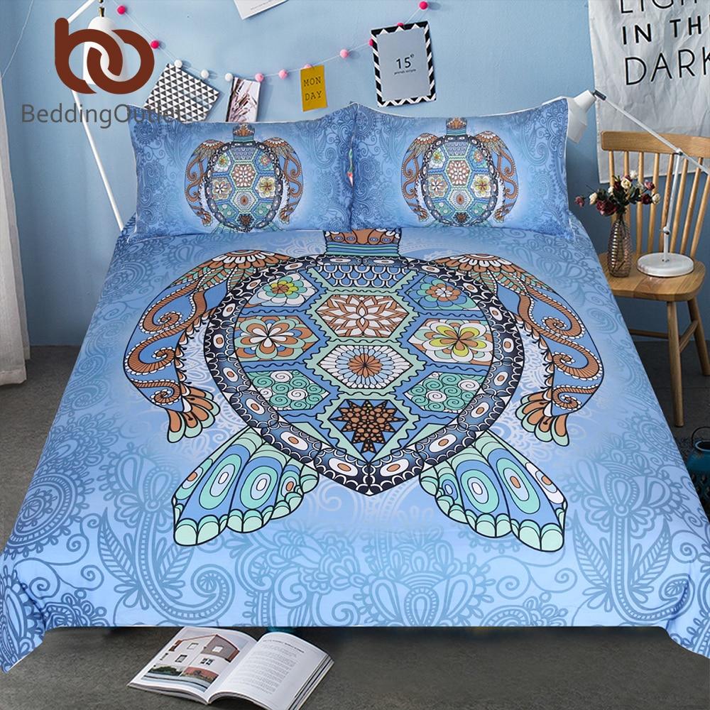 BeddingOutlet Tortues Bleu Ensemble de Literie Tortue Mandala Couette Lit Couverture Animal Textiles de Maison 3-Pièce Fleur Paisley Lit Ensemble