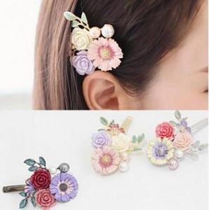 2018 New Luxury Crystal Hair Clip Opal Leaf Resin Flower Headwear Jewelry OL For Women Girls Elegant Barrettes Hair Accessories