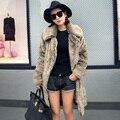 Mulheres Inverno Estilo Longo Faux Casacos De Pele da Pele Do Falso Vison casaco Casacos de Moda Feminina Senhoras de Espessura da Pele Quente Outerwear Mais tamanho