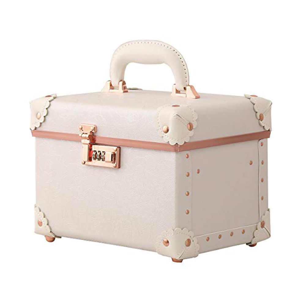 91d8be5f741a Cosmetic case women makeup password lock Cosmetic Bags lady Leather ...