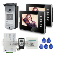 FREE SHIPPING New Wired 7 inch Color Screen Video Door Phone Doorbell Intercom System 1 RFID Access Camera + 2 Monitors In Stock