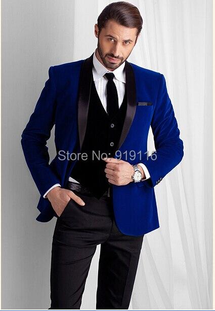 Royal Blue Velvet Tuxedo Jacket Shawl Lapel Men Suit Prom Slim Fit Men Blazer Designs Wedding Suits For Men (Jacket+Pants+Tie)