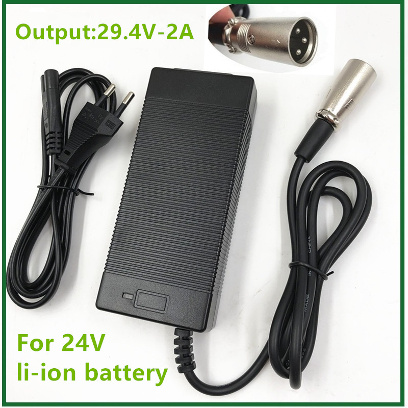 29.4V 2A Li Ion Battery Charger 24V 2A 10AH 20AH Charger For 24V 7S Lithium Li-ion Ebike Bicycle Electric Bike Battery Charger
