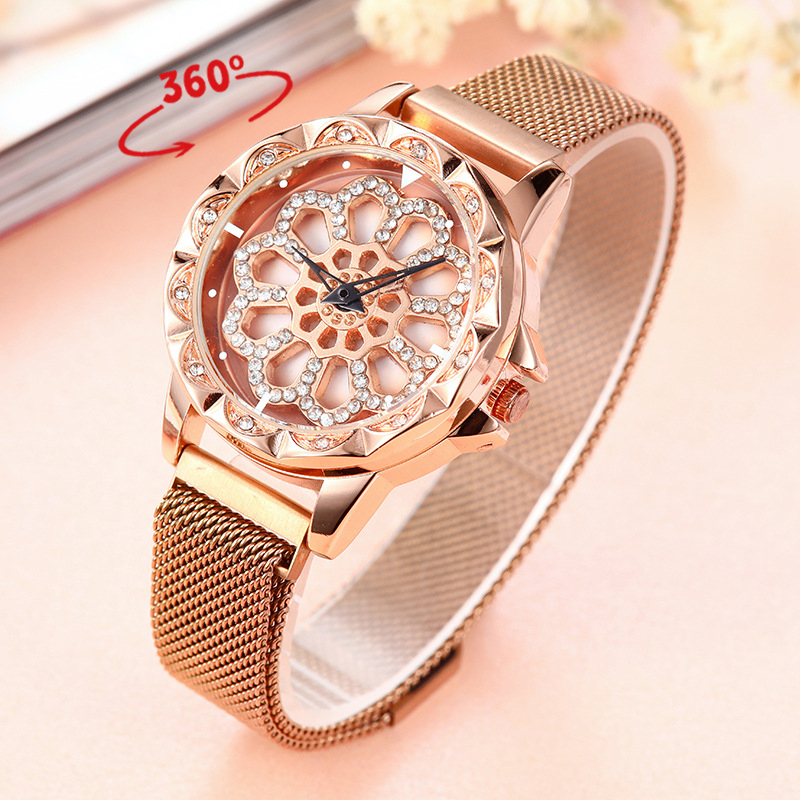 Fashion Flower Diamond Quartz Watch For Women Ladies Rotate Dial Magnetic Mesh Band Women's Watch 2019 Luxury Wristwatches