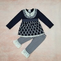 Fashion New Fall Children Clothing Cotton Swing Top Kids Stripes Lace Ruffle Pants Boutique Toddler Girls
