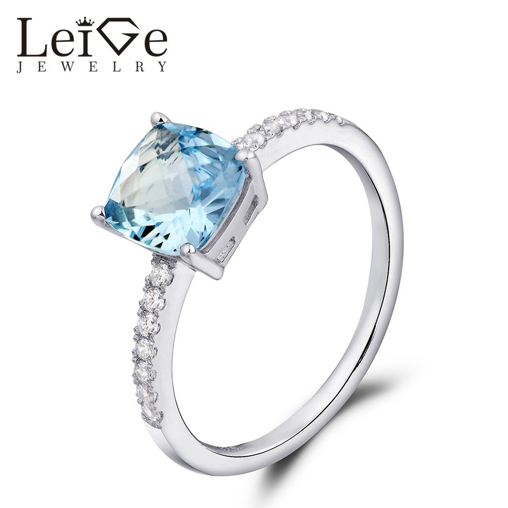 Leige Jewelry Aquamarine Ring March Birthstone 925 Sterling Silver Blue Gemstone Engagement Rings Customized Christmas Gift