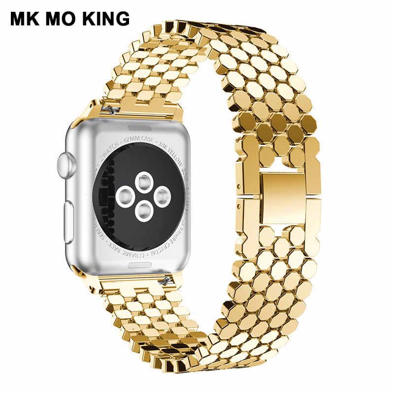魚スケールハニカムためのステンレススチールストラップ iphone apple 役割男性 × 女性時計バンド iwatch 4 38 44 ミリメートルスマートブレスレット