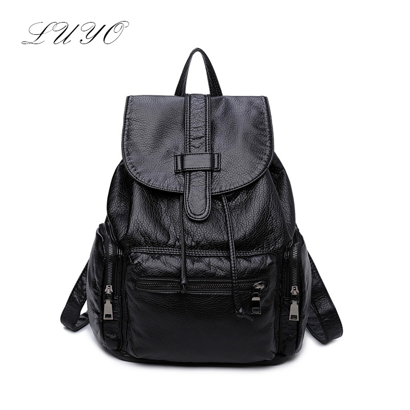 Luyo Soft Sheepskin Genuine Leather Women Fashion Feminine Backpack Youth School Bags For Teenage Girls Teenagers Sac A Dos women leather backpack teenage backpacks for girls fashion vintage feminine backpack sac a dos femme school bags zaino donna