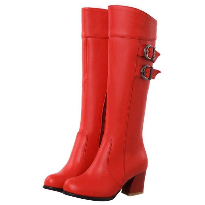 Du rouge Hauteur Automne Taille Casual Noir Avec À Chaussures Zip marron Chunky Talons Genou Grande Femmes Chelsea Sjjh Mode Long Bottes Bout Boucle A967 blanc Rond iPXkZu