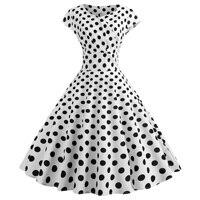Black White Polka Dot Vintage Dress Summer Women Sleeveless Retro Robe Rockabilly Dresses Party Jurkjes Vestidos