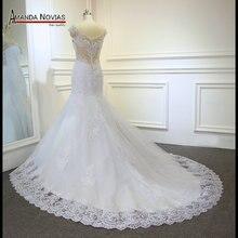 Yeni Mermaid vestido de festa düğün elbisesi 2019 Dantel