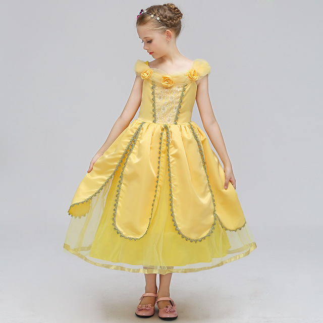 cb2b1d6ccba Princess Summer Dresses Girls Belle Cosplay Costume Beauty Children Kids  Halloween Birthday Party Tutu Yellow Dresses