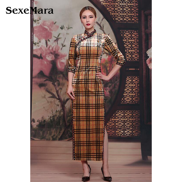 96660928c China Traditional Evening Dresses Lint Vintage Qipao herve leger bandage  Printing tartan Cheongsam Dresses Prom dress A1133