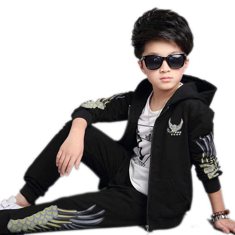 spring autumn boys sports suits casual tracksuits for boys two piece children long sleeve angel wings printed boys clothes sets