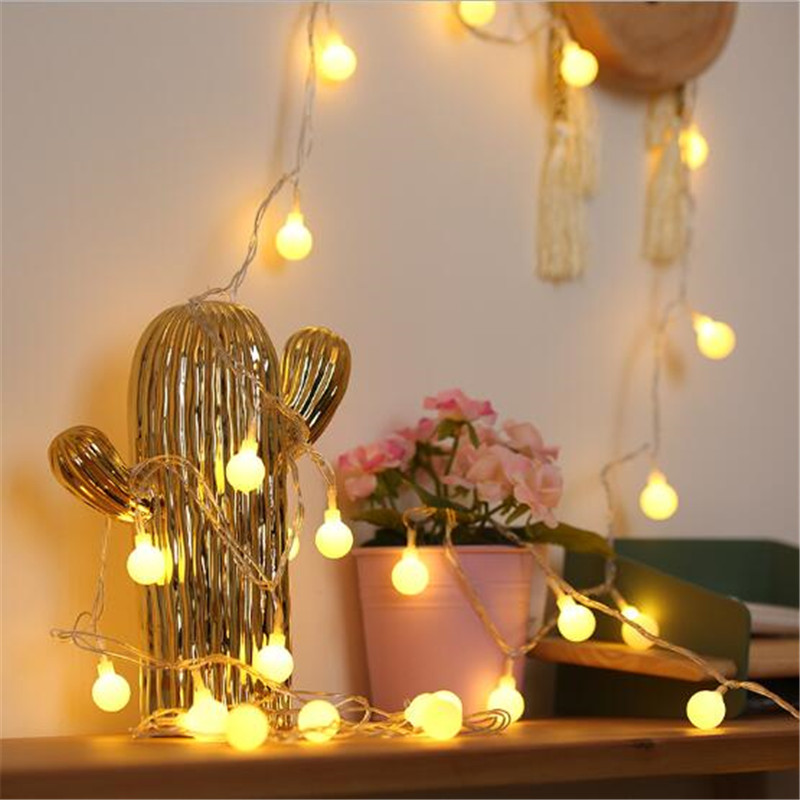 IP65 Battery Power Led Ball String Light 1.5M 3M 6M Flexible Fairy Ball Holiday Lighting For Wedding Party Xmas Decoration Lamp