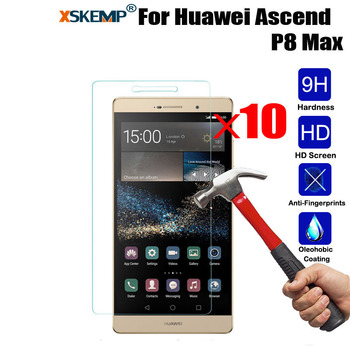 XSKEMP 10Pcs/Lot Real 9H Tempered Glass Screen Protector Film For Huawei P8 MAX Ultra Clear Shockproof Tablet Protective Guard