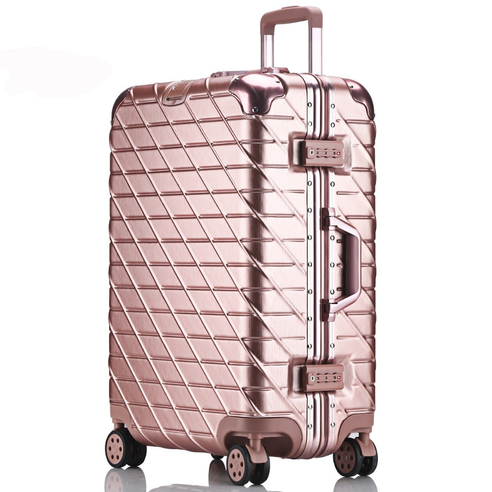 20'24'26'29' Aluminum Frame Rolling Luggage Spinner Travel Suitcase original 3d luggage Women Boarding Box Carry On Bag Trolley 20 24 26 29 full aluminum rolling luggage spinner travel suitcase original luggage women boarding box carry on bag trolley