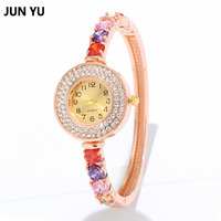 JUNYU Multi Color Zircon Ladies Bracelet Watches With High Quality Alloy Case