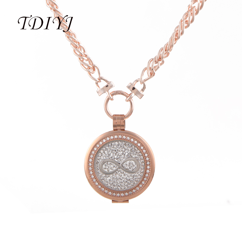 Tdiyj rose gold crystal coin holder pendant necklace with infinity tdiyj rose gold crystal coin holder pendant necklace with infinityflower my coin disc 33mm twisted singapore chain for mom 1set in pendant necklaces from aloadofball Images