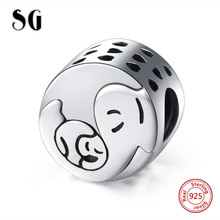 Fit pandora Charms Bracelets sterling Silver 925 Cute Elephant baby and mom Beads diy fashion Jewelry making for women Gifts