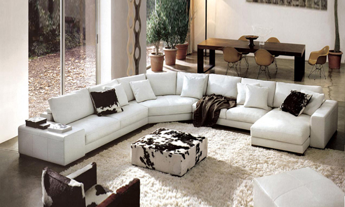 Online kopen wholesale moderne lederen couch uit china for V shaped living room