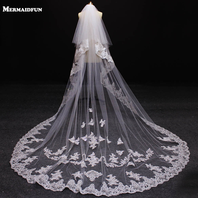 2017 Luxury Bling Sequind Lace Two Layers 3 Meters Wedding Veils With Comb New White Ivory