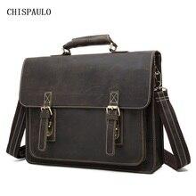 CHISPAULO crazy horse genuine leather men bag vintage laptop bag business men's leather briefcase men messenger bags new T747