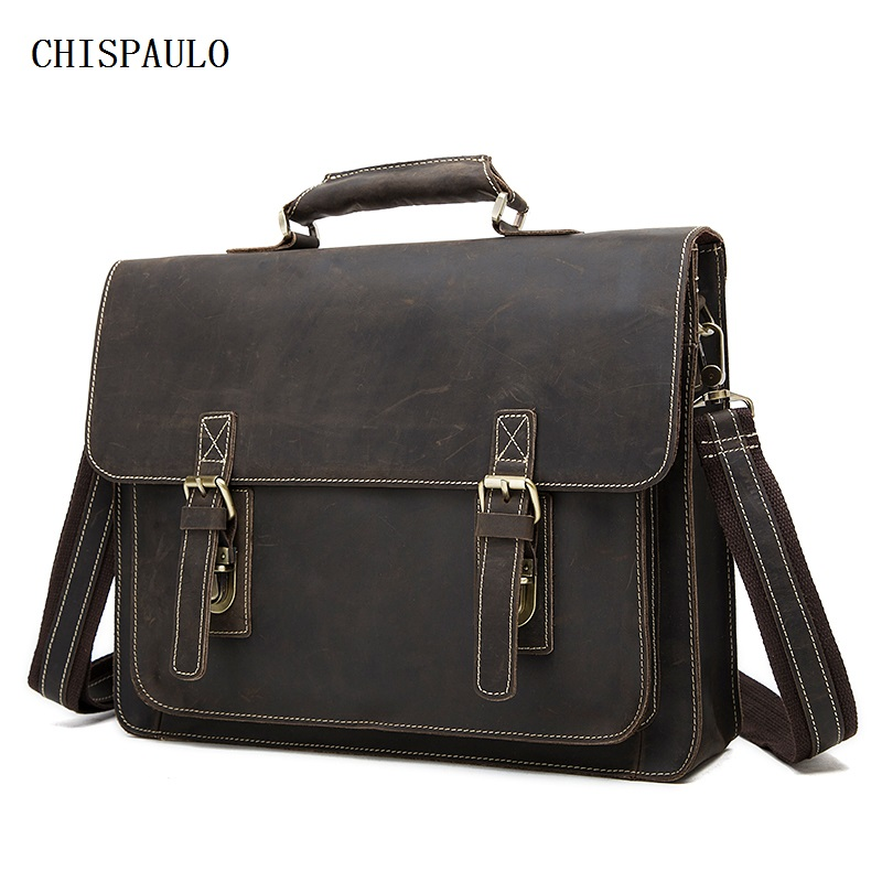 CHISPAULO crazy horse genuine leather men bag vintage laptop bag business men's leather briefcase men messenger bags new  T747 crazy horse genuine leather men bags vintage loptop business men s leather briefcase man bags men s messenger bag 2016 new 7205
